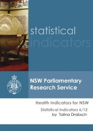 Health Indicators for NSW - Parliament of New South Wales