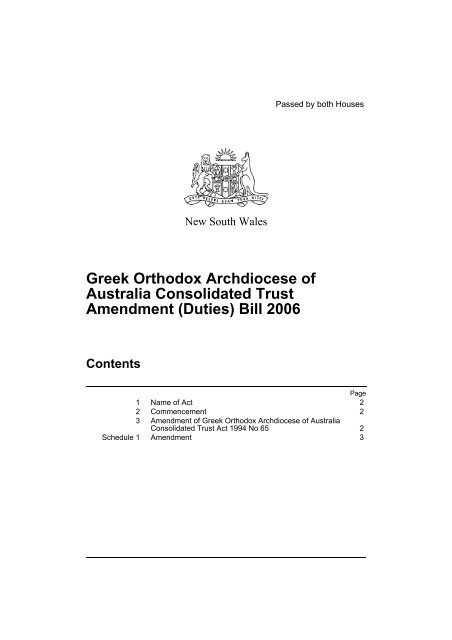 Greek Orthodox Archdiocese of Australia Consolidated Trust