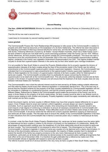 Commonwealth Powers (De Facto Relationships) Bill.