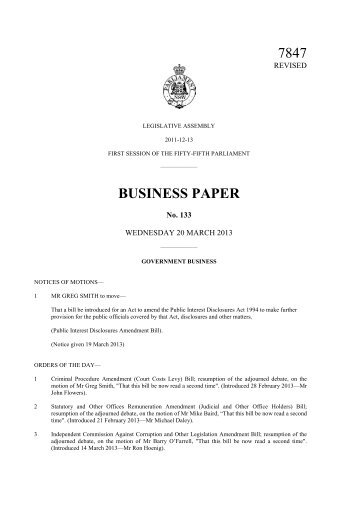 7847 BUSINESS PAPER - Parliament of New South Wales