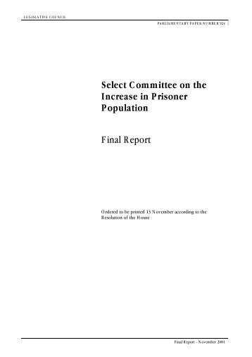 Select Committee on the Increase in Prisoner Population Final Report