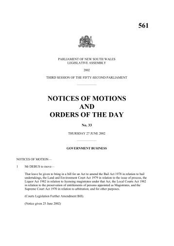 561 notices of motions and orders of the day - Parliament of New ...