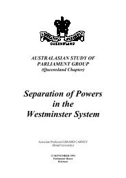 Separation of Powers in the Westminster System - Queensland ...