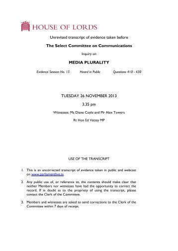 Media plurality - uncorrected oral evidence (26 ... - Parliament
