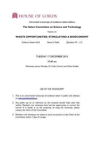 Waste and the bioeconomy - uncorrected oral evidence - Parliament