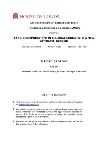 Unrevised transcript of evidence taken before The ... - Parliament