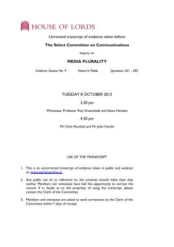 Media plurality - uncorrected oral evidence (8 October ... - Parliament