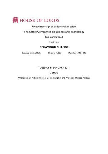 Revised transcript of evidence taken before The Select ... - Parliament
