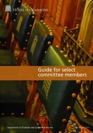 Guide for select committee members - Parliament
