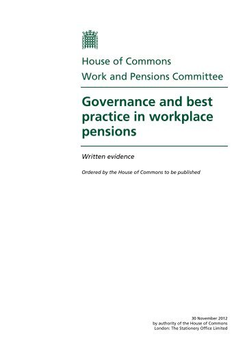 Written evidence published online ( PDF 3.04 MB) - Parliament