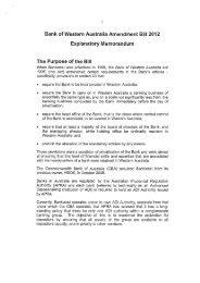 Bank of Western Australia Amendment Bill 2012 - Parliament of ...