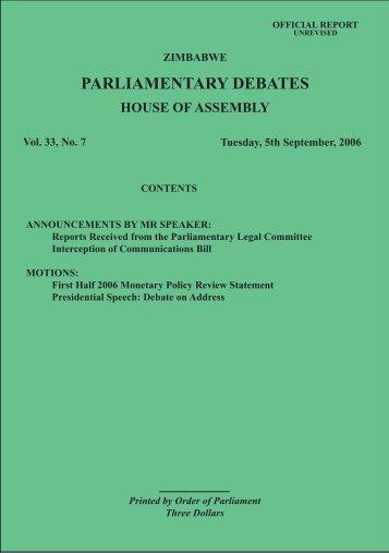 5 September 2006 No.33-07 - Zimbabwe Parliament