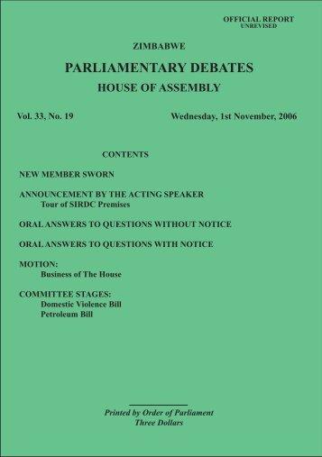 1 November 2006 No.33-19 - Zimbabwe Parliament