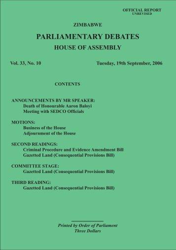 19 September 2006 No.33-10 - Zimbabwe Parliament
