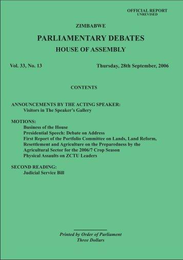 28 September 2006 No.33-13 - Zimbabwe Parliament