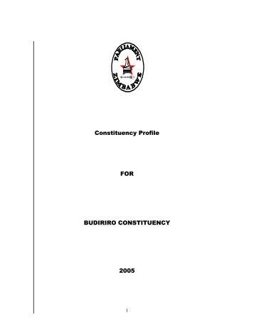 Constituency Profile FOR BUDIRIRO CONSTITUENCY 2005