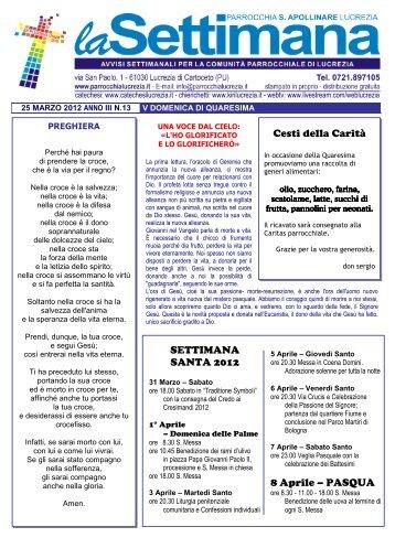 Cesti della Carità SETTIMANA SANTA 2012 8 Aprile – PASQUA