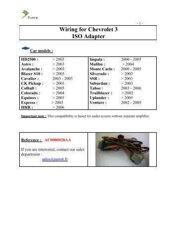 2003 ssr wiring diagram wiring diagram for opel iso adapter parrot wiring for chevrolet 3 iso adapter parrot