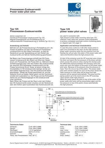Presswasser-Zusteuerventil Typ 125 - Daume Regelarmaturen Gmbh