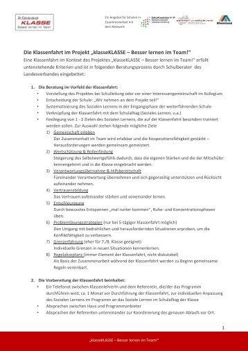 """Die Klassenfahrt im Projekt """"klasseKLASSE – Besser lernen im Team!"""""""