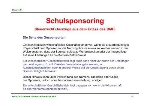 Schulsponsoring - Stiftung Partner für Schule NRW