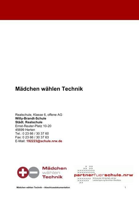 Mädchen wählen Technik - Stiftung Partner für Schule NRW