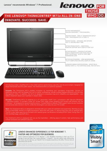 INNOVATE. SUCCEED. SAVE. ThE LENOVO® ThINkCENTRE ...