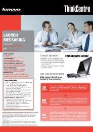 LAUNCH MESSAGING - Lenovo Partner Network