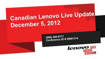 2012 ThinkPad Launch Disclosure - Lenovo Partner Network