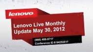 Introduction and Welcome - Lenovo Partner Network