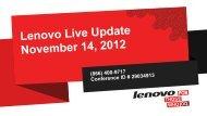 2012 ThinkPad Launch Disclosure - Lenovo Partner Network