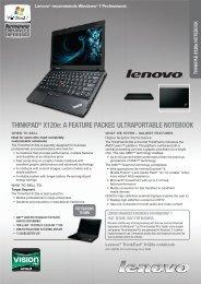 THINKPAD® X120e - Lenovo Partner Network