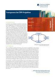 Transparenz bei ÖPP-Projekten - ÖPP Deutschland AG