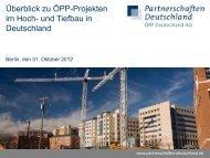 Überblick zu ÖPP-Projekten im Hoch- und Tiefbau in Deutschland