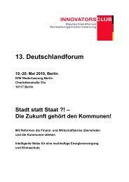 13. Deutschlandforum 19.-20. Mai 2010, Berlin - ÖPP Deutschland AG
