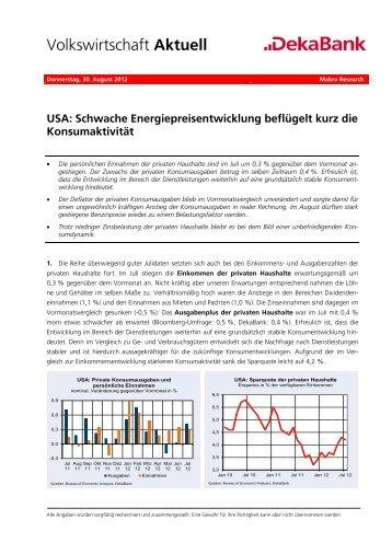 USA: Schwache Energiepreisentwicklung beflügelt kurz ... - Dekabank