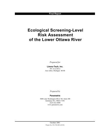 Ecological Risk Assessment Report - Partners for Clean Streams