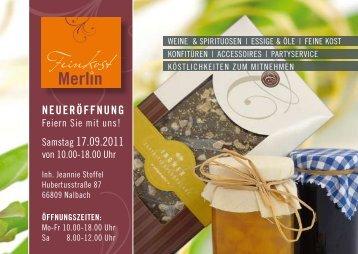 NEUERÖFFNUNG Samstag 17.09.2011 - Partyservice Merlin