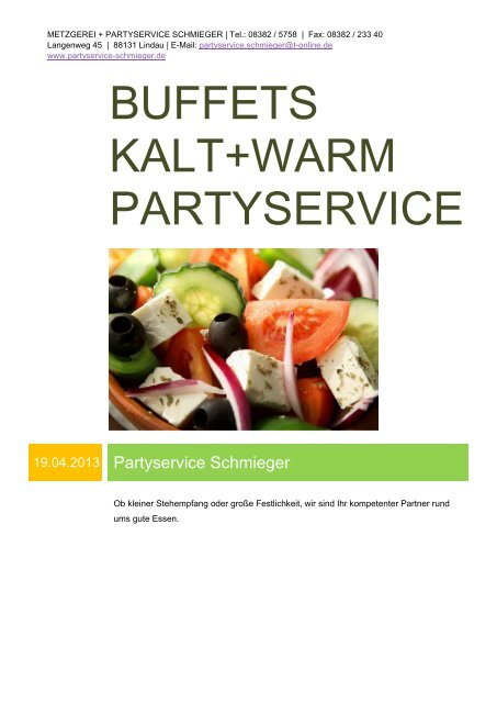 Buffets Partyservice kalt+warm.pdf - Partyservice Schmieger