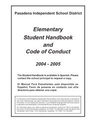 Elementary Student Handbook and Code of Conduct 2004