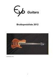 Guitars Bruttopreisliste 2012 - Eyb Guitars & Basses