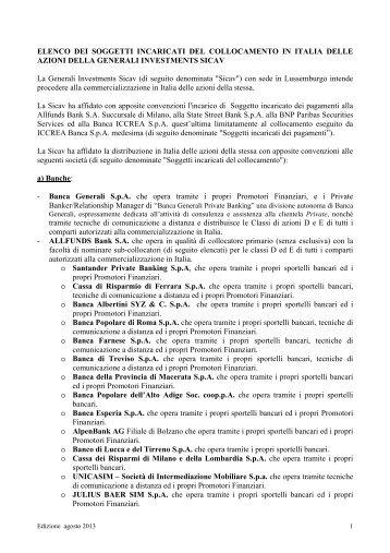 ELENCO DEI SOGGETTI INCARICATI DEL COLLOCAMENTO IN ...