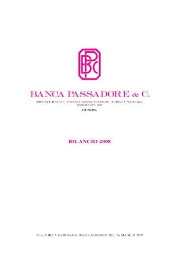 09P0496 PASS. BILANCIO 2008 - Banca Passadore