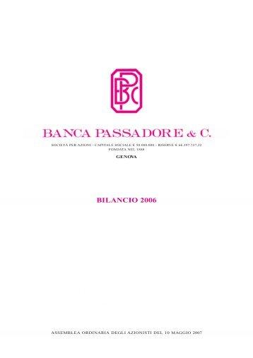 07P0546 PASS. BILANCIO 2006 - Banca Passadore