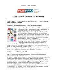 PASSE-PARTOUT MULTIPLIE SES INITIATIVES