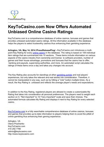 KeyToCasino.com Now Offers Automated Unbiased Online Casino Ratings