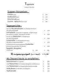 Speisekarte Frühling 2013