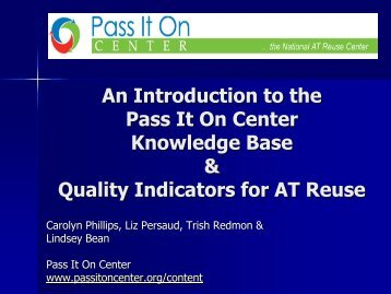 An Introduction to the Pass It On Center Knowledge Base & Quality ...