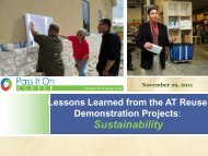 Lessons Learned From The AT Reuse ... - Pass It On Center