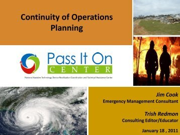 Continuity of Operations Planning Webinar - Pass It On Center